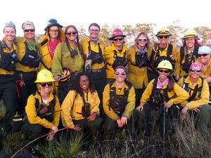 Group photo of women fire-workers.