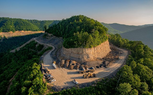 a mountaintop that has been carved by coal mining