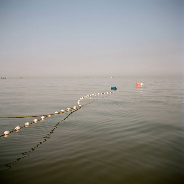 a rope with buoys on it floats on still gray water into the distance