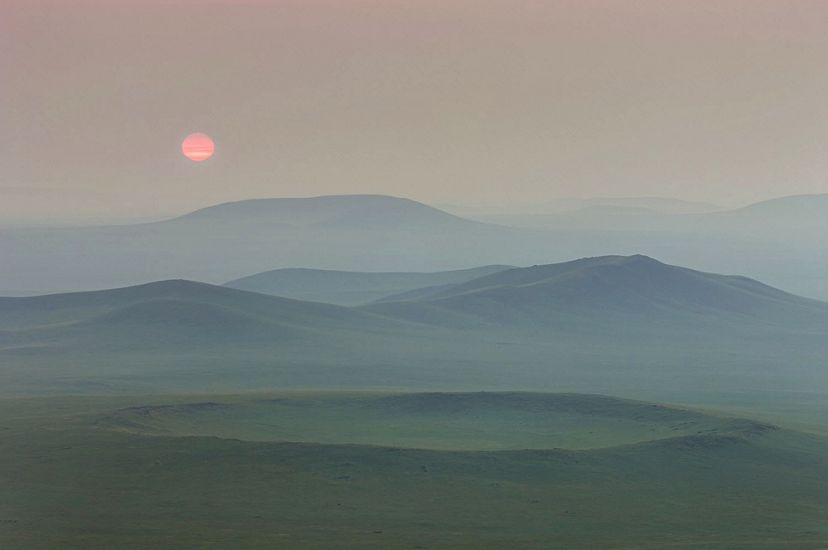 The steppe in eastern Mongolia at sunrise