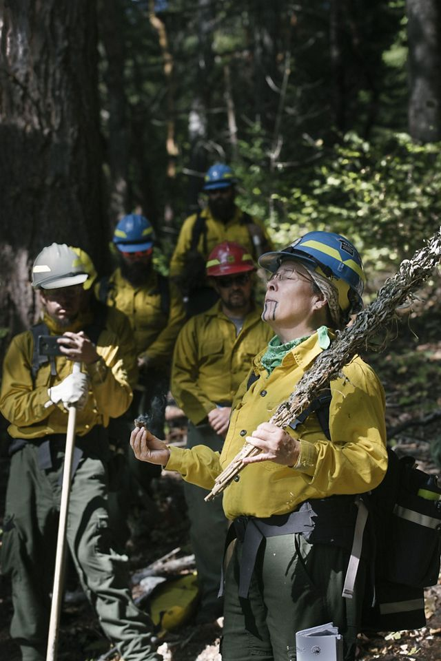 Members of the Cultural Fire Management Council begin a fire training exchange (TREX) on Yurok land.