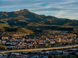 Fishers Peak forms a backdrop to Trinidad, Colorado