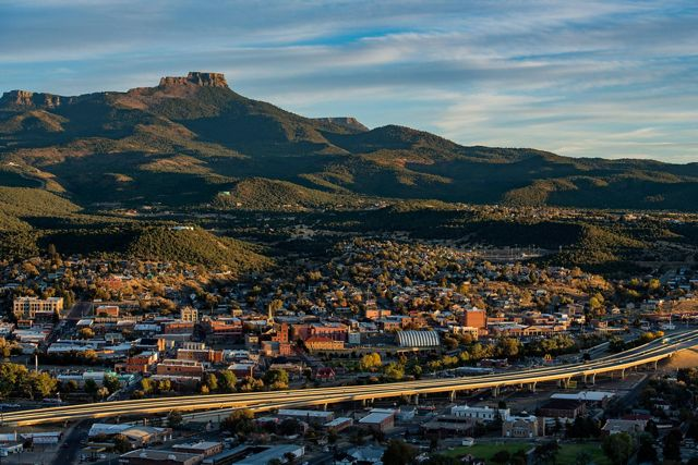 The scenic town of Trinidad, Colorado with Fishers Peak in background