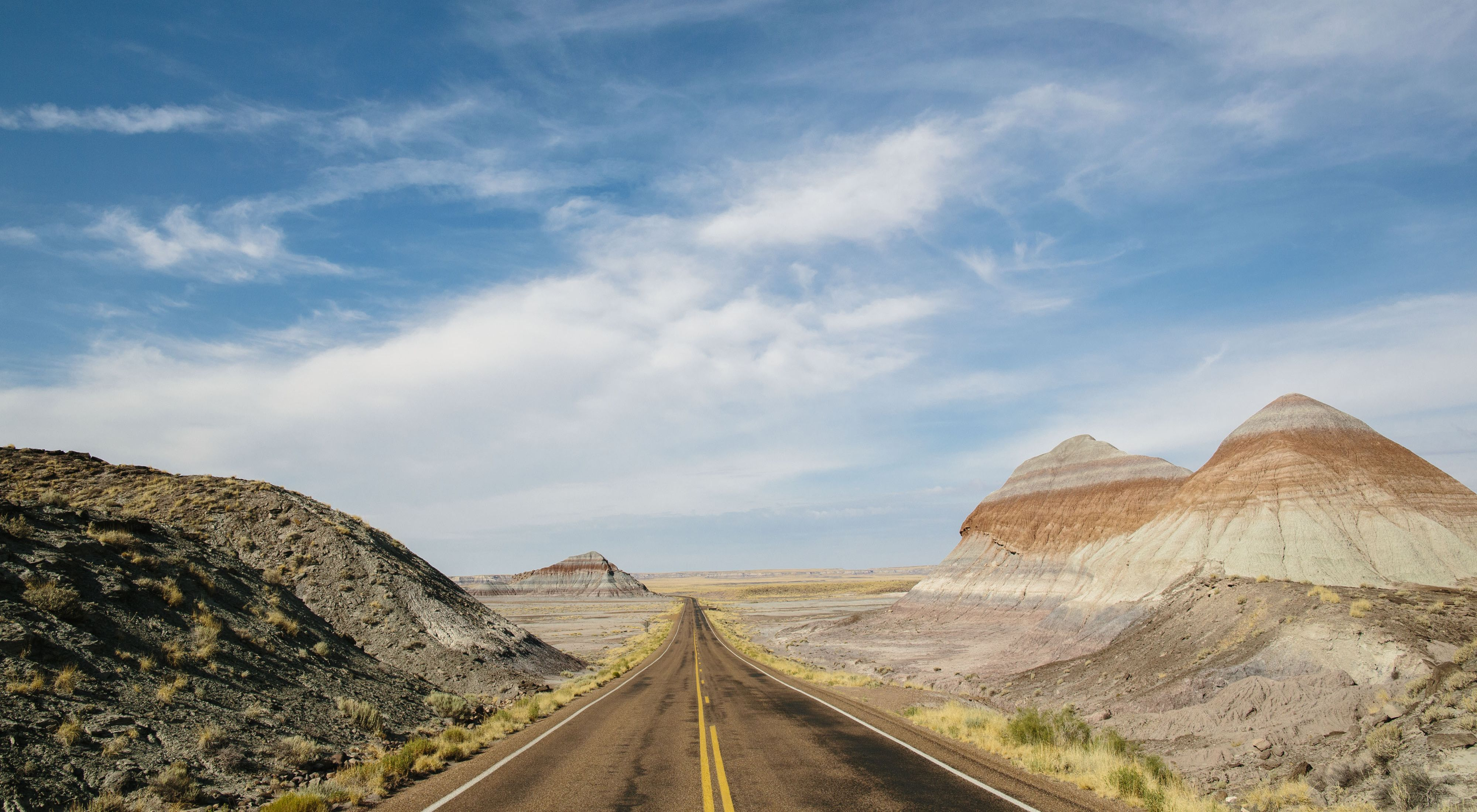 A view of the road through Petrified Forest National Park in Arizona.