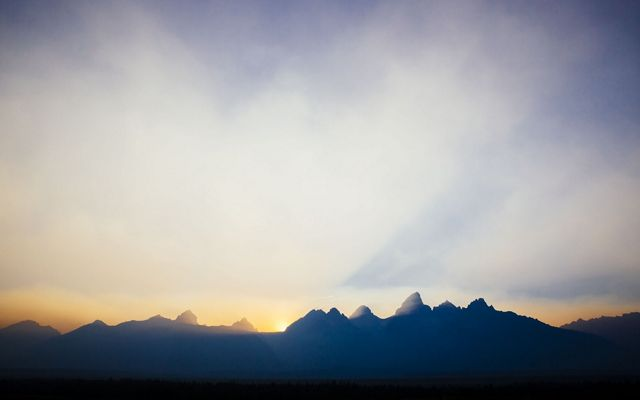 Smoky skies from wildfires at sunset at Grand Teton National Park.
