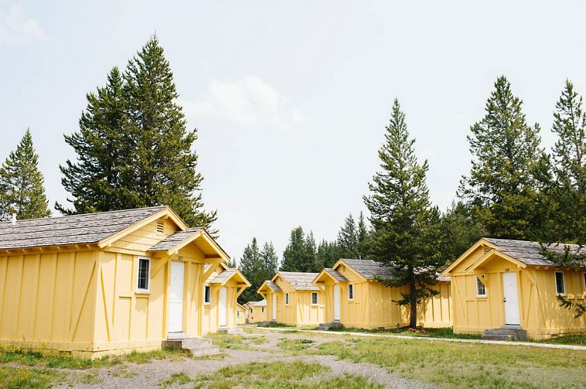 A group of yellow cottages with fir trees in the background.