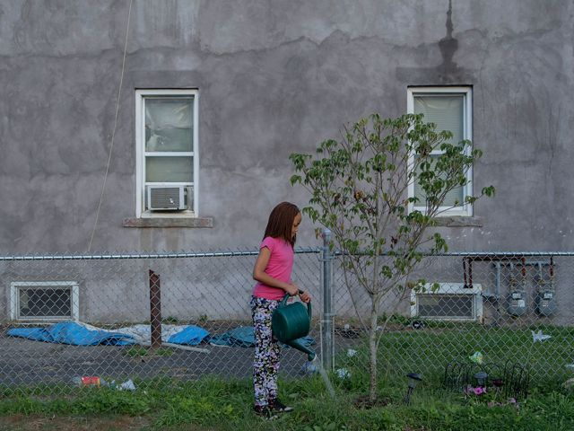 A girl waters a tree in her urban backyard in Bridgeport, Connecticut.