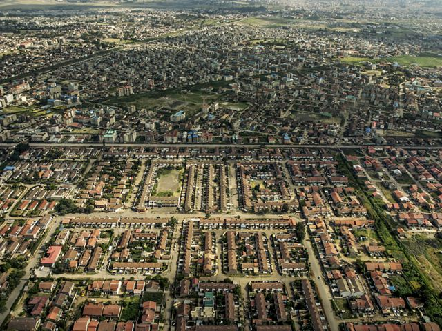 An aerial view of the outskirts of Nairobi