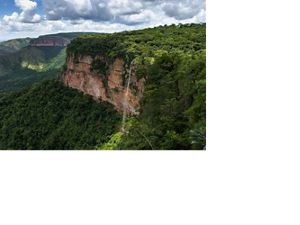 Sweeping view of a forested escarpment in Brazil.