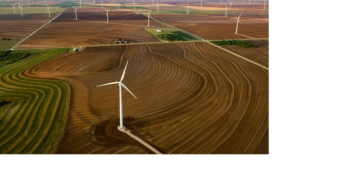 A wind farm on farmland in Texas