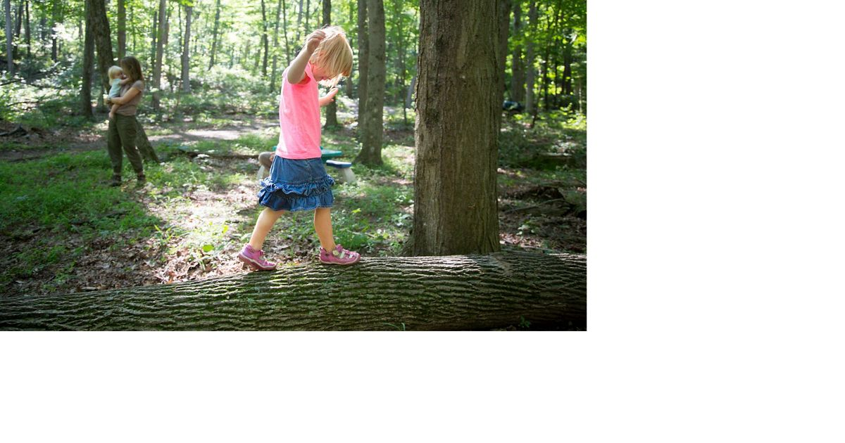 A little girl walks on a log in a forest with her mom and sister in the background