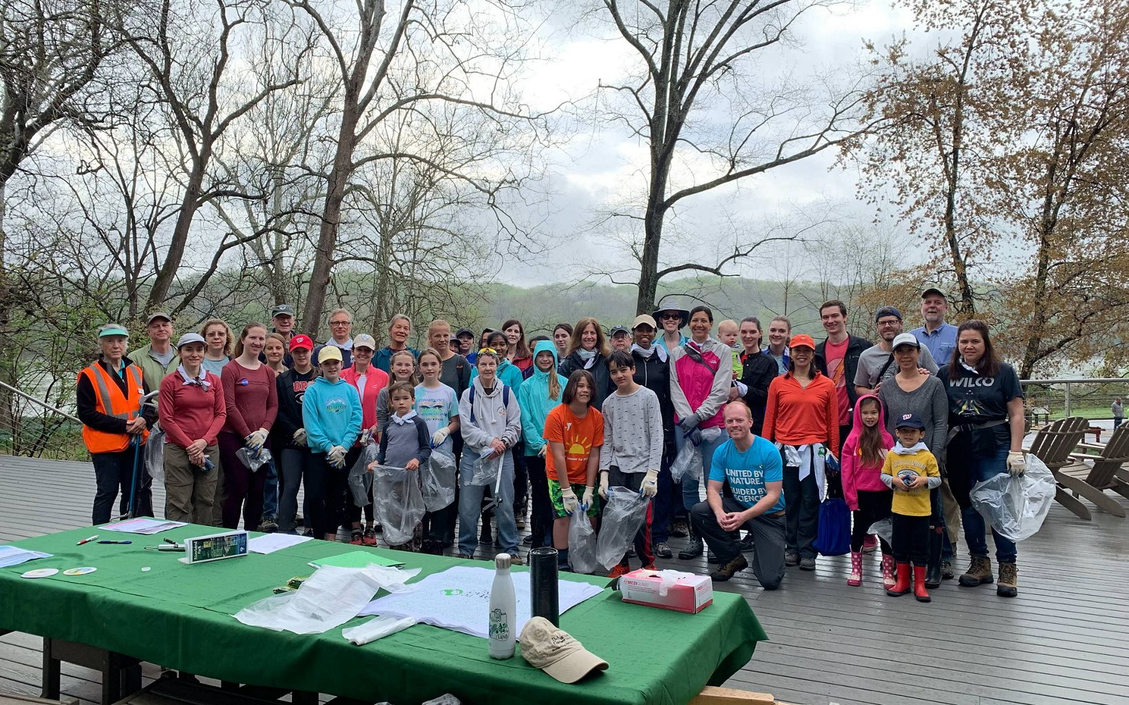 40 volunteers collected 50 pounds of trash at Riverbend Park, including 50 golf balls.