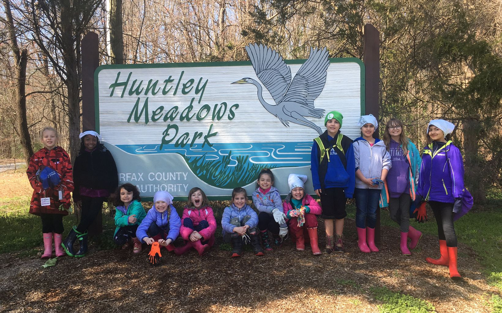 Girl Scout troops 52014 and 3446 from Springfield, VA collected trash in and around a stream in Huntley Meadows Park.