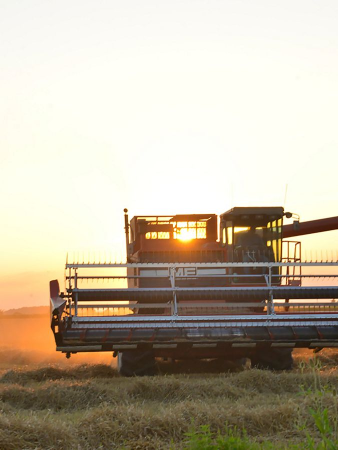 A combine in an agricultural field.