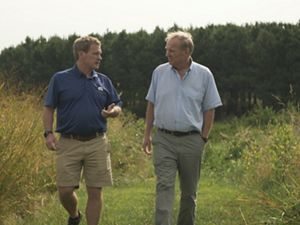 Farmer Trey Hill (left) and landowner Joe Hickman.