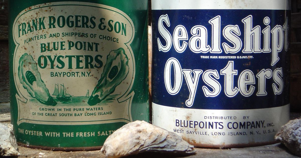 At one time there were 25 oyster shucking houses lining the shores of Great South Bay, filling cans like the ones shown above, displayed at Long Island's Maritime Museum.
