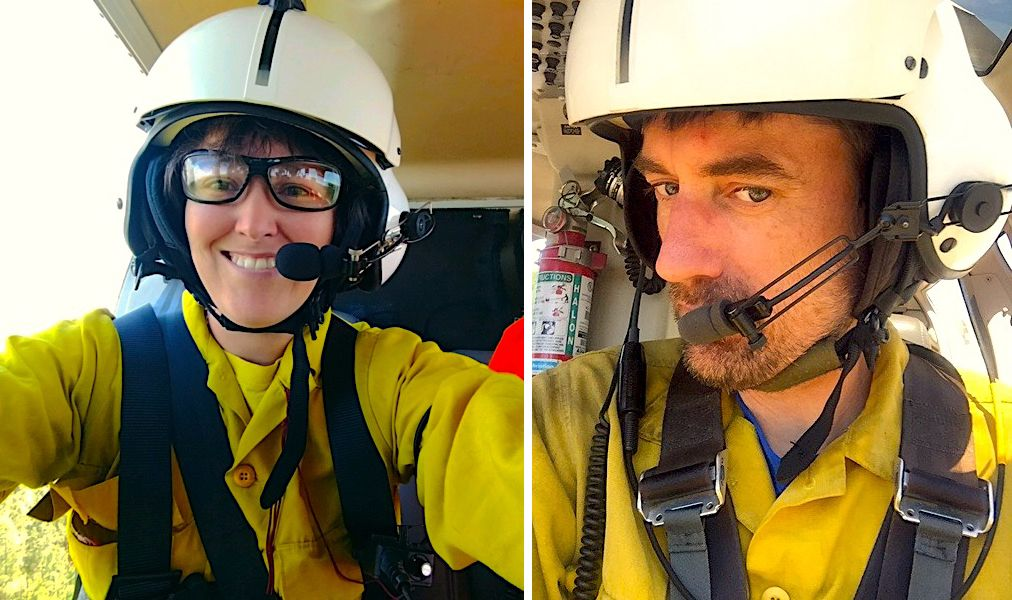 Two photos combined together into one image. Selfies taken by a woman and a man from the inside a helicopter. They are each wearing white helmets.