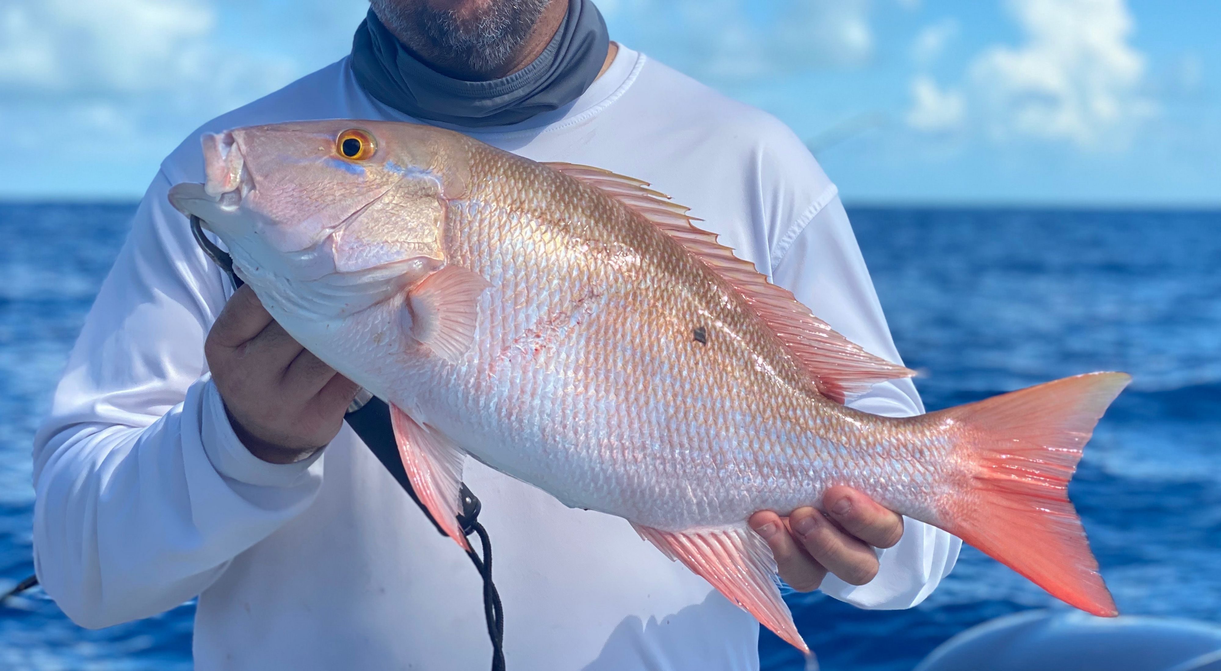 Fisherman on a boat holding up a pink and white mutton snapper fish.