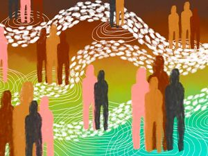 an illustration showing abstracted people standing together with interconnecting lines