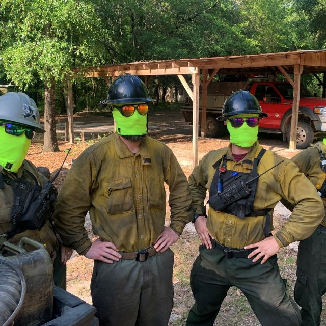 Georgia CFL fire crew wearing masks made out of the same fire resistant material as Nomex shirt and pants