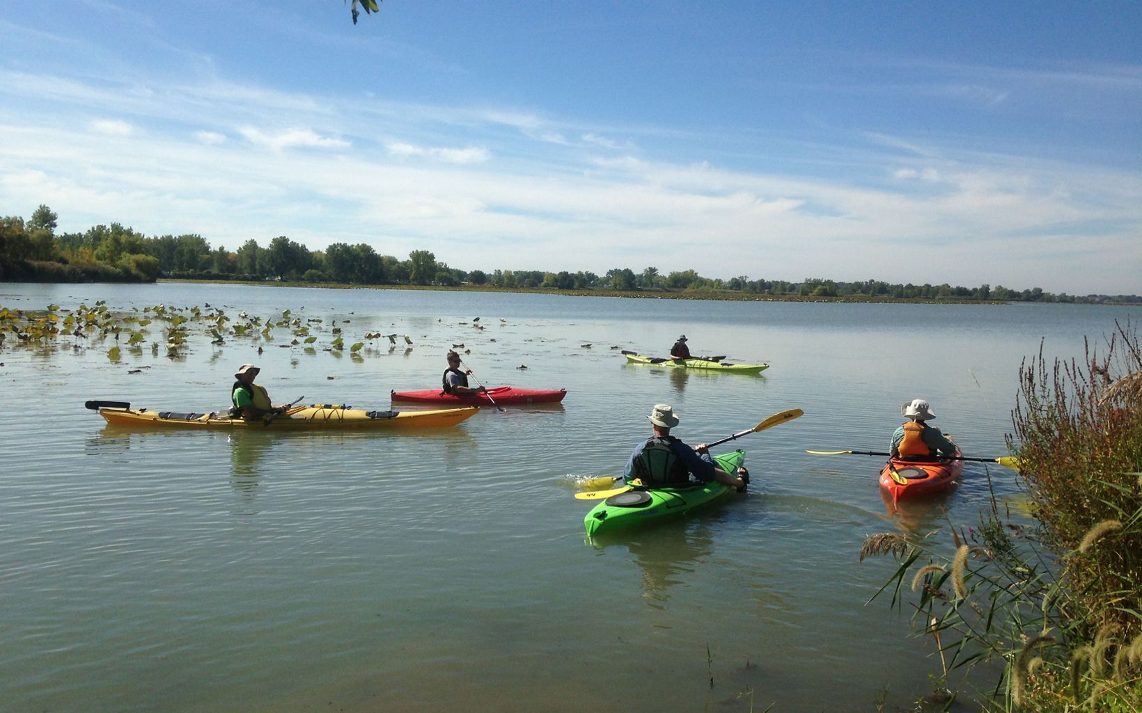Kayakers taking advantage of the put-in located at the preserve.