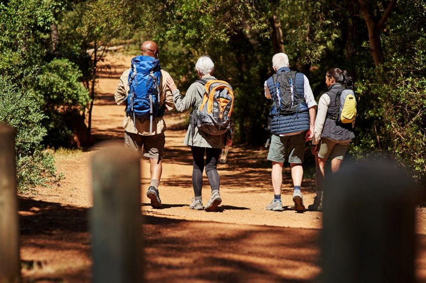 Four people walking down a flat path in the woods.