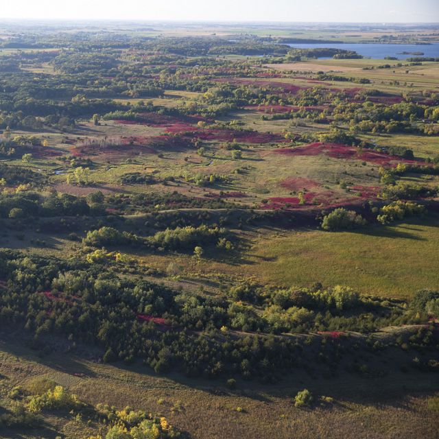 Aerial image of Lake Johanna Esker Preserve in Minnesota.