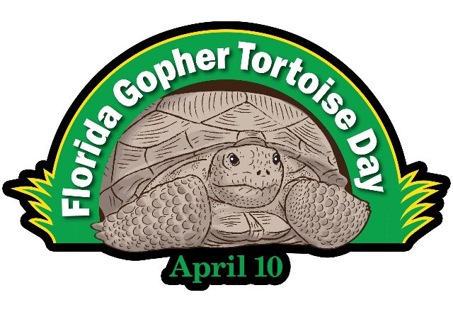 "Logo with a drawing of a tortoise emerging underneath a green arch with the words ""Florida Gopher Tortoise Day"" written on it in white. Underneath the tortoise are the words ""April 10."""
