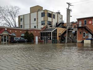 Flooded businesses in downtown Green Bay, Wisconsin.
