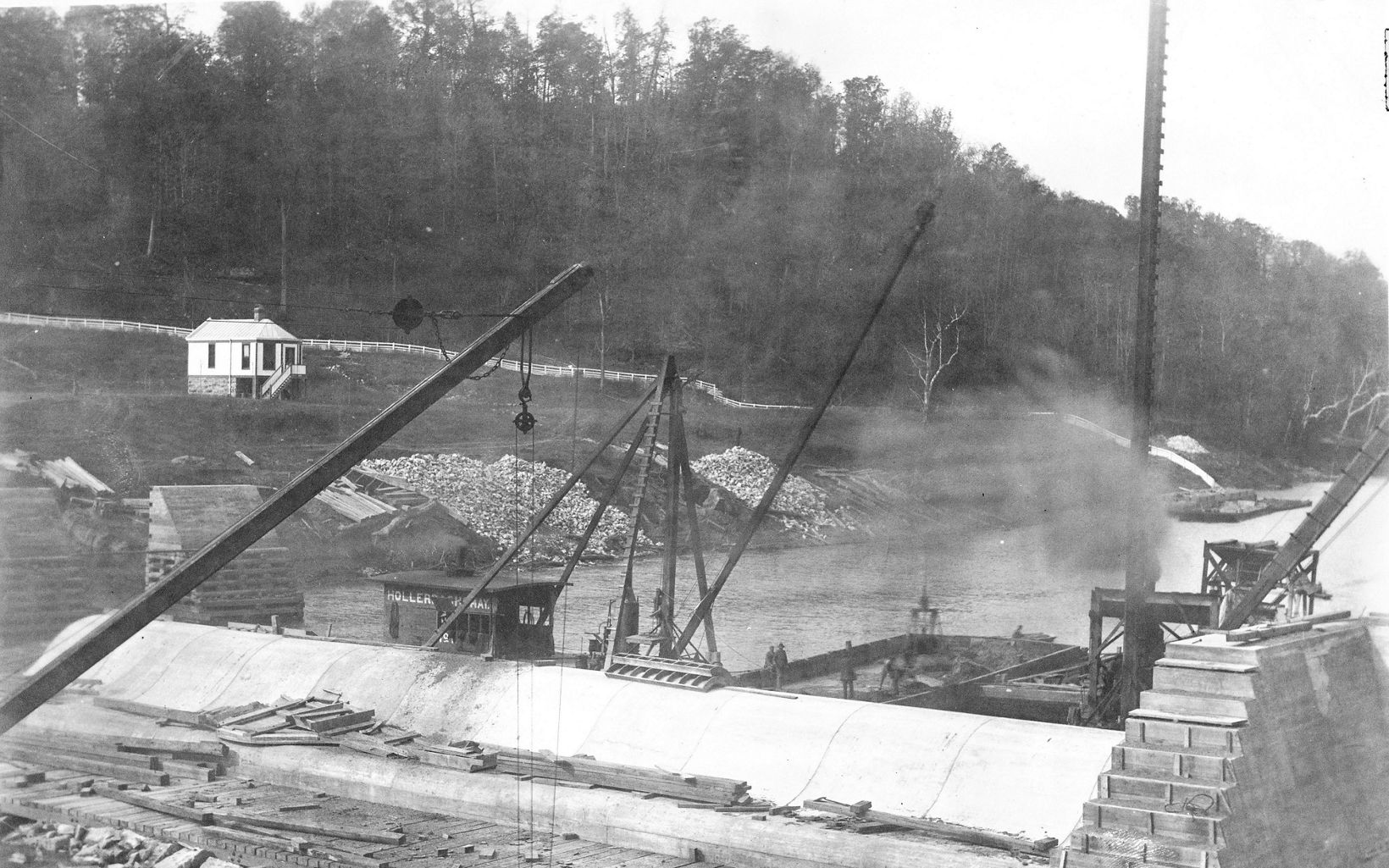 An historic image of building a dam.