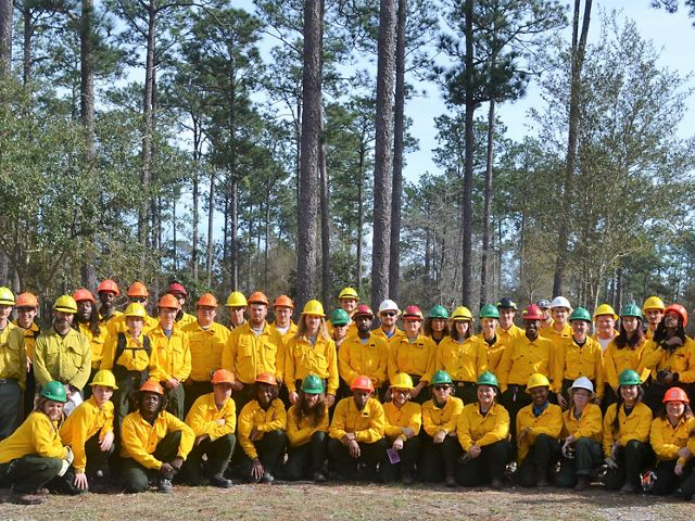 All 44 trained GulfCorps members pose after completing Firefighter Type II training at Camp Tiak in Wiggins, MS, in December 2018.