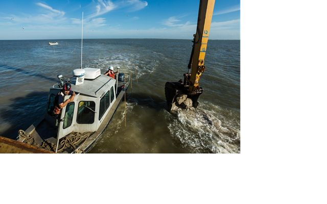 Construction of a new oyster reef at Half Moon Reef in Matagorda Bay