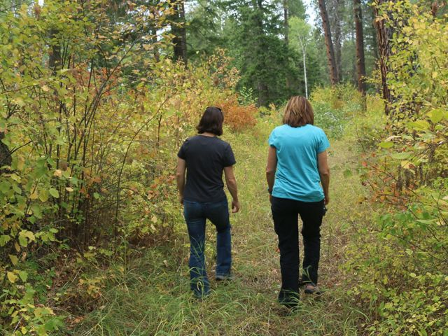 Two women walking through wooded forest.