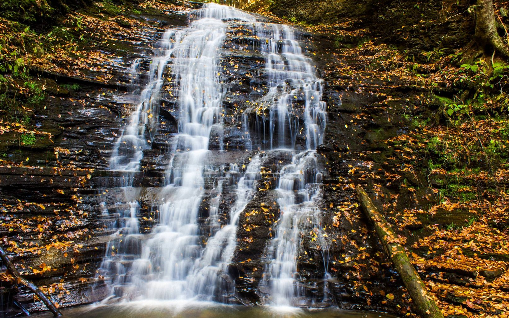Fall view of waterfall with orange leaves on surrounding rocks.