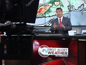 NBC Connecticut Chief Meteorologist Ryan Hanrahan delivering a forecast.