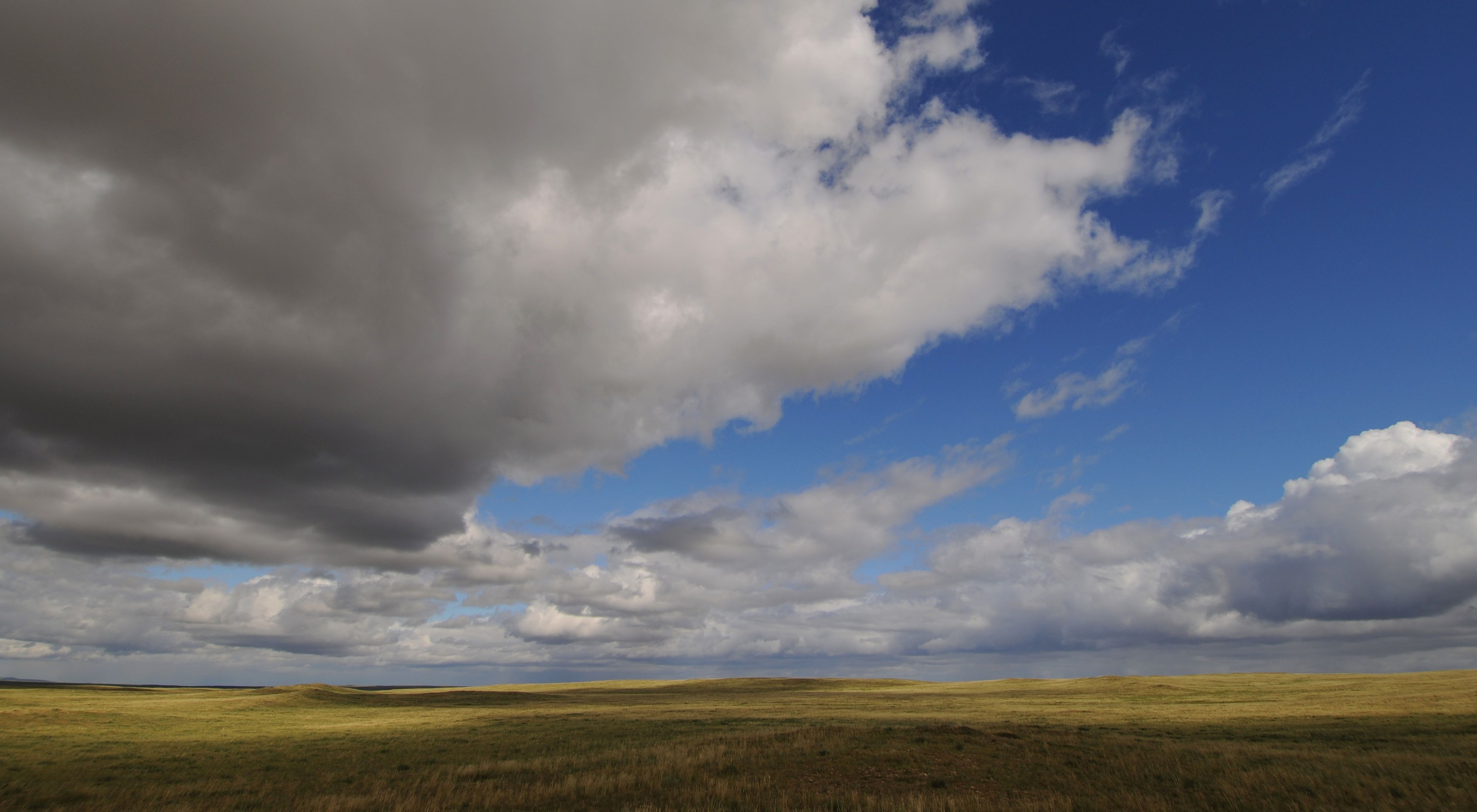 Storm clouds over a vast and empty grassland.