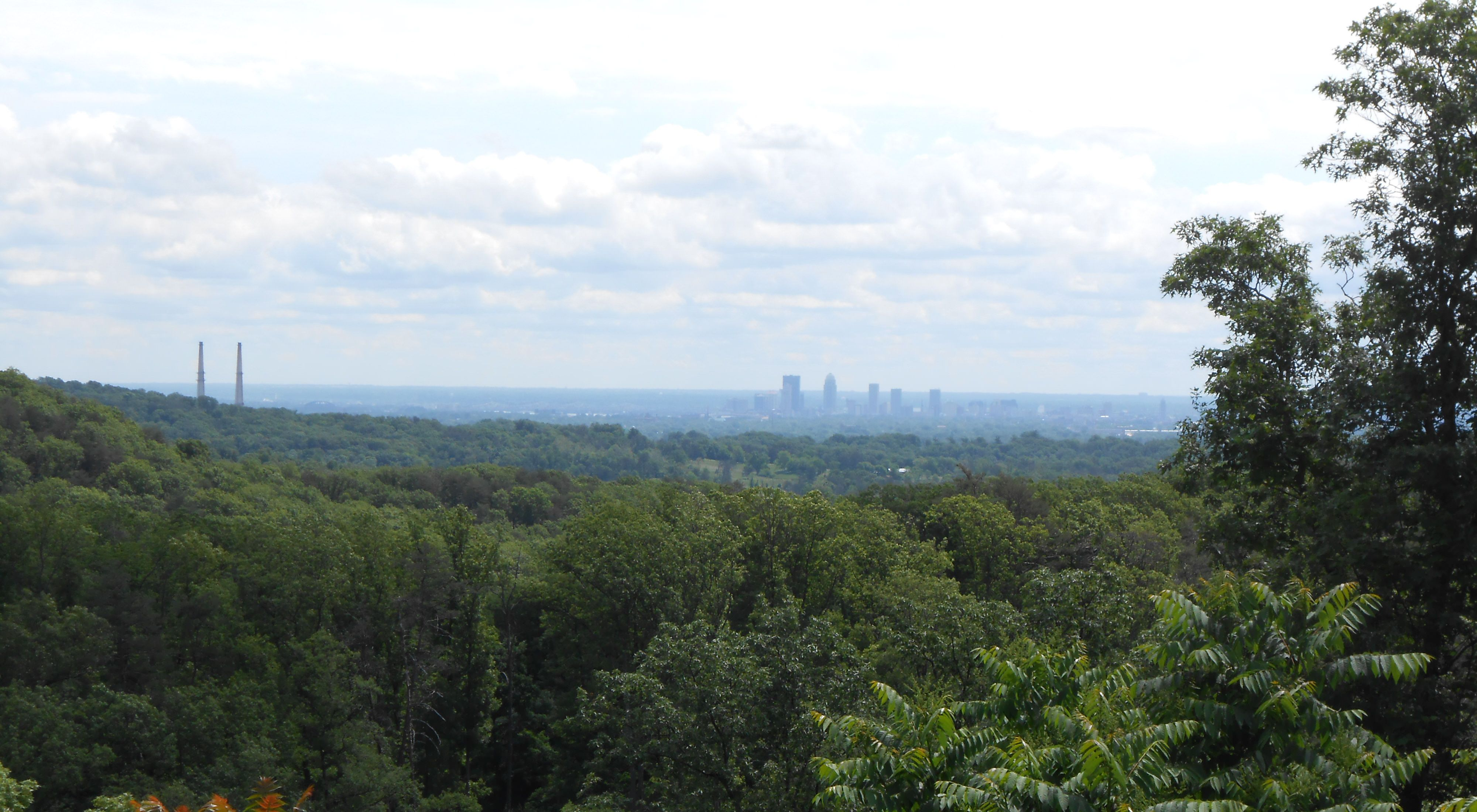 A view of downtown Louisville, Kentucky, from Hardin Ridge in Floyd County, Indiana.