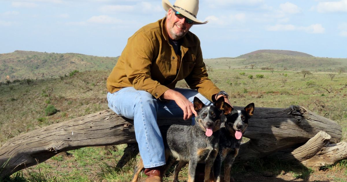 Harris Brown and cattle dogs.