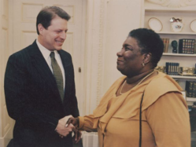 "Known as the ""mother of environmental justice,"" Hazel Johnson meets former Vice President Al Gore at the White House."