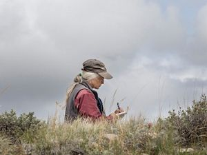 A woman writes in a journal while sitting in a field.