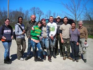 A group photo of 10 volunteers at Herrick Fen.