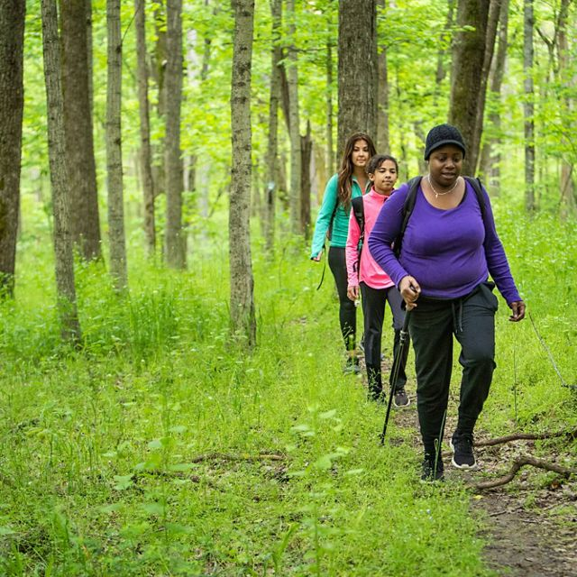 A group of hikers enjoys the Sally Brown-Crutcher Nature Preserve in the Kentucky River Palisades region.