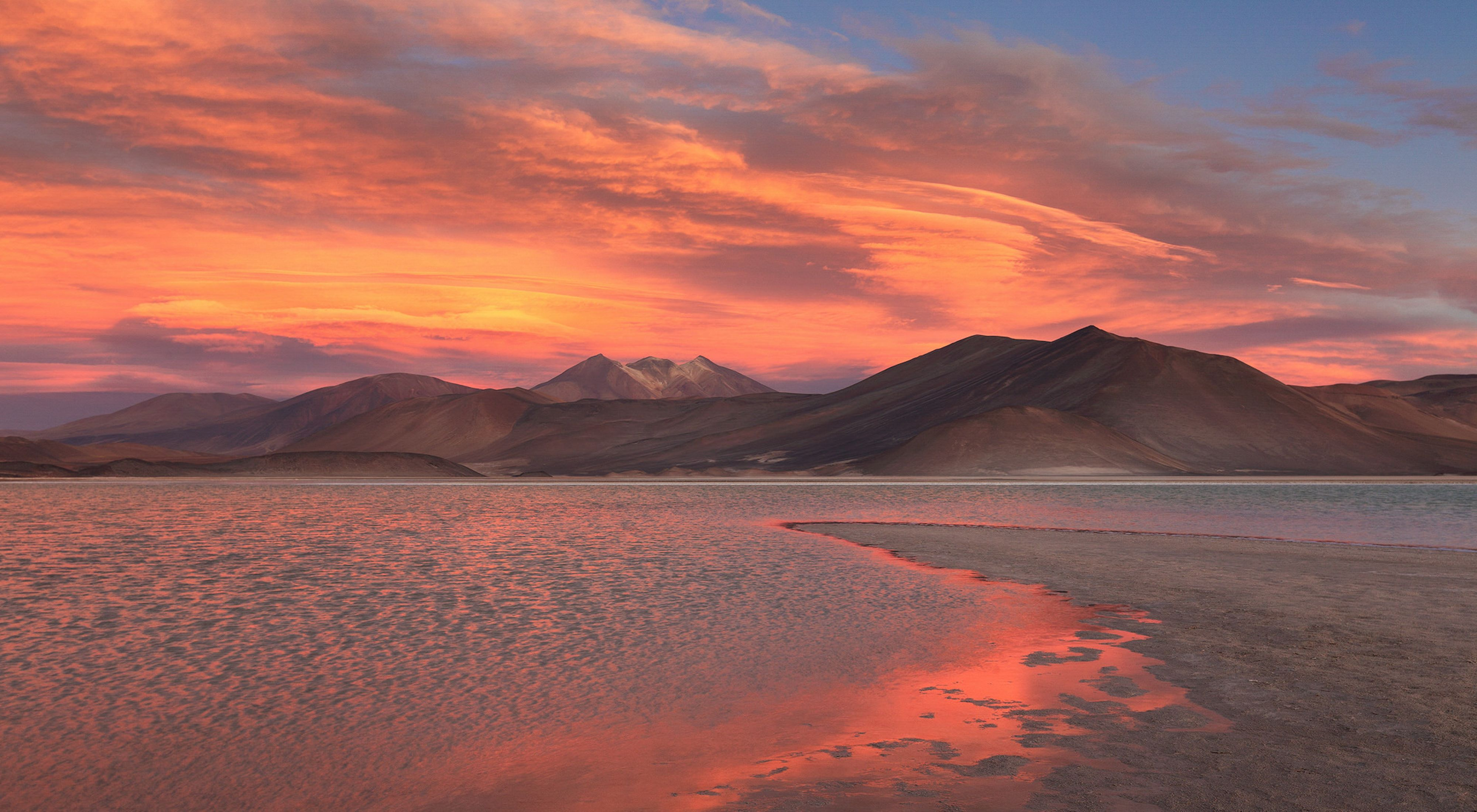 A sunset in Piedras Rojas in the Atacama Desert in Chile
