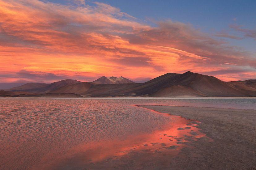 Sunset at Piedras Rojas in the Atacama Desert in Chile.