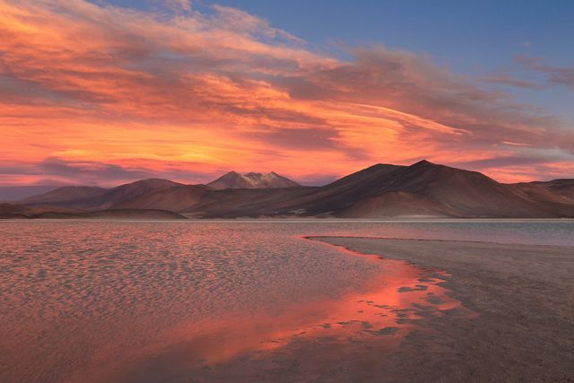 Sunset at Piedras Rojas in the Atacama Desert in Chile.