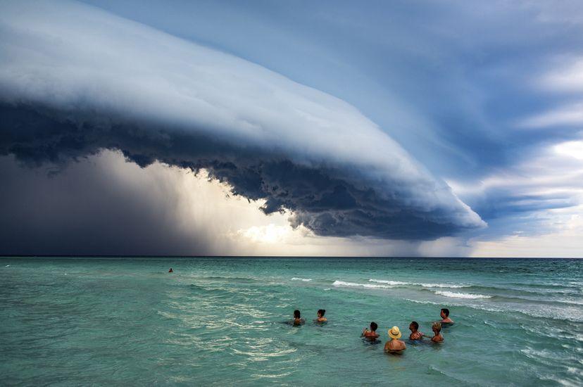 A storm comes over Varadero, Cuba, 2019.