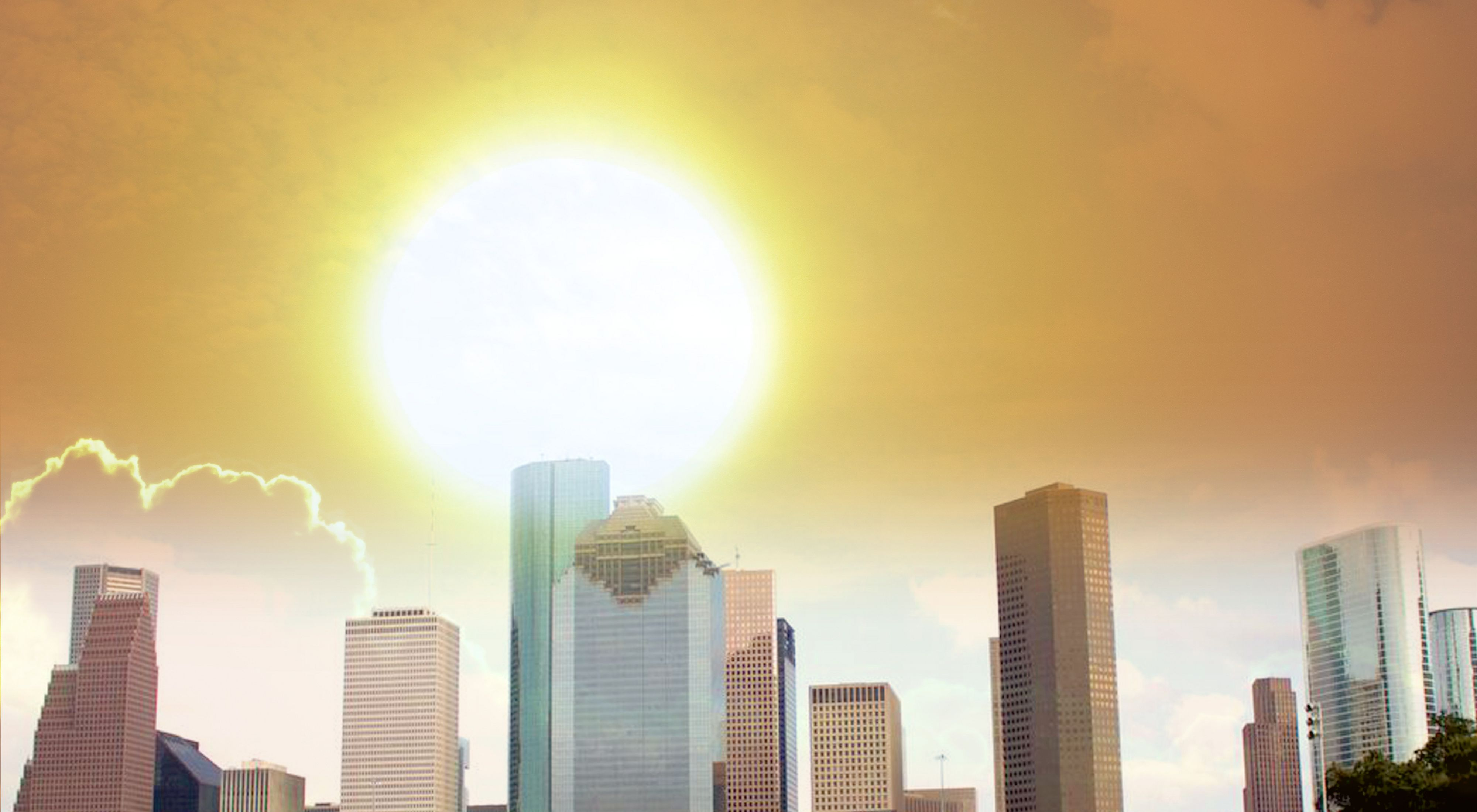 City skyline in Houston, Texas, which is experiencing increasing temperatures due to climate change.