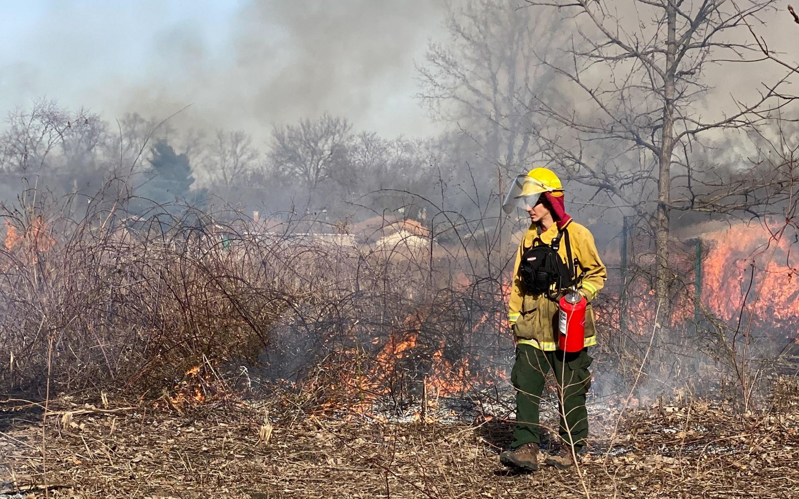 A team member conducts a prescribed burn