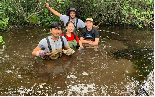 LEAF interns (l to r) James Boyd, Violet Bauman and Claire Marlowe  with CCC member Connor Liu (rear) install beaver baffles at Maryland's Finzel Swamp Preserve.