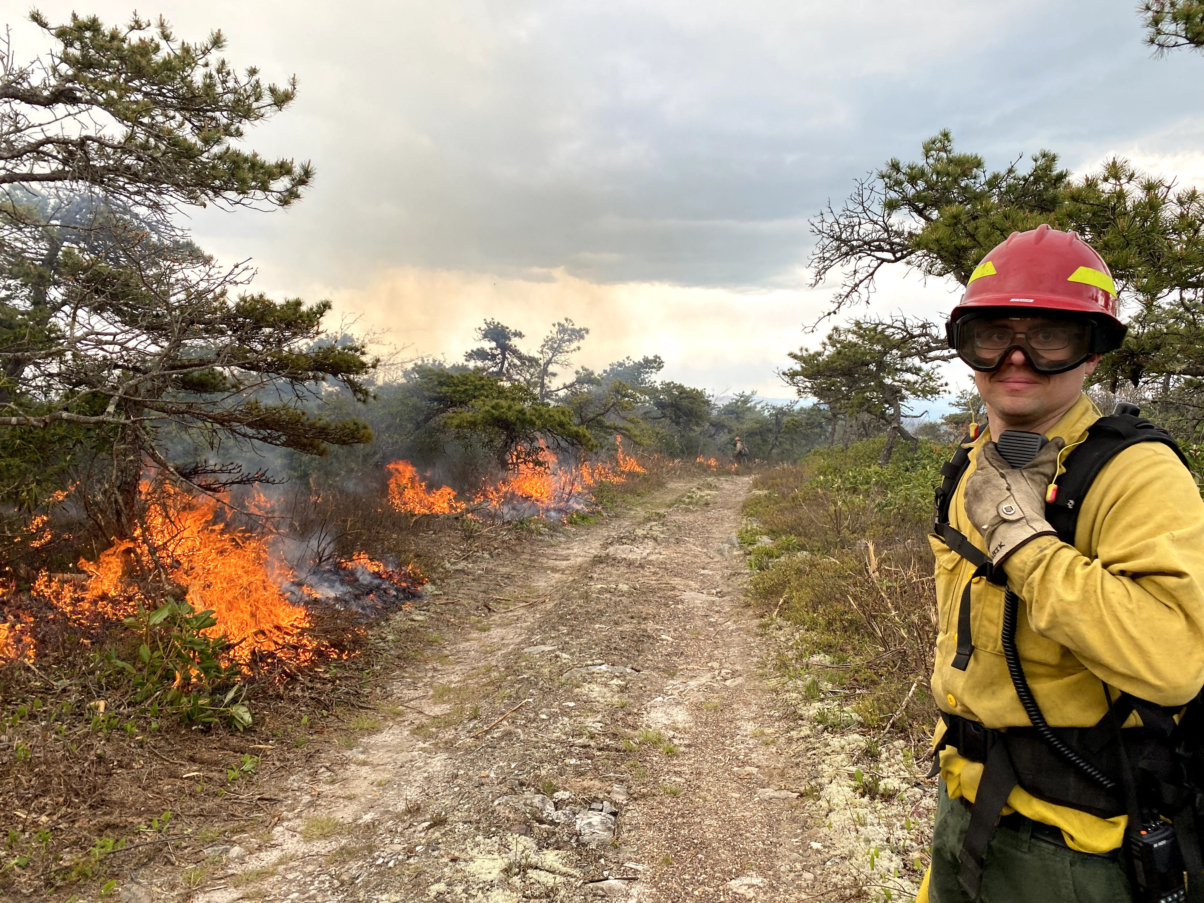 A man wearing goggles and yellow fire gear stands at the edge of a wide dirt track. A fire burns along the other side of the track consuming the green vegetation during a controlled burn.
